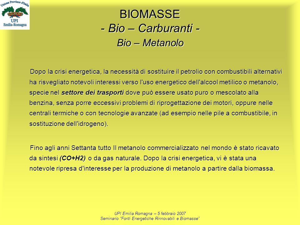 UPI Emilia Romagna – 5 febbraio 2007 Seminario Fonti Energetiche Rinnovabili e Biomasse BIOMASSE - Bio – Carburanti - Bio – Metanolo Dopo la crisi ene