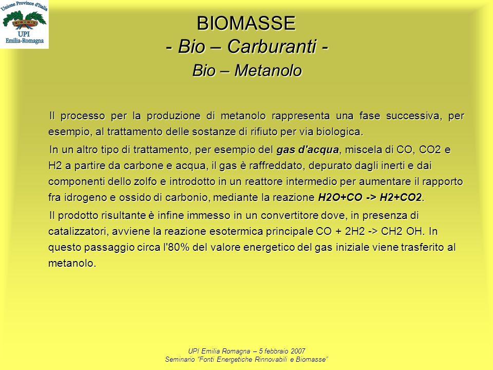 UPI Emilia Romagna – 5 febbraio 2007 Seminario Fonti Energetiche Rinnovabili e Biomasse BIOMASSE - Bio – Carburanti - Bio – Metanolo Il processo per l