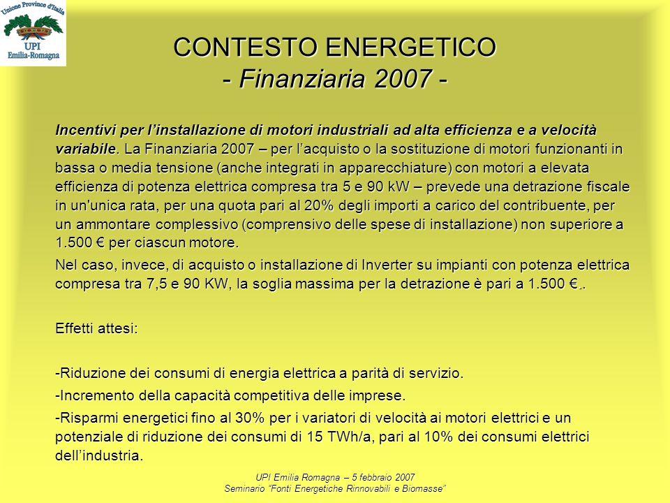 UPI Emilia Romagna – 5 febbraio 2007 Seminario Fonti Energetiche Rinnovabili e Biomasse CONTESTO ENERGETICO - Finanziaria 2007 - Incentivi per linstal