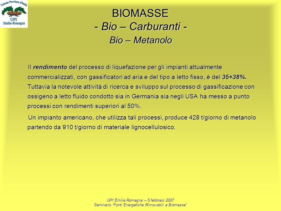UPI Emilia Romagna – 5 febbraio 2007 Seminario Fonti Energetiche Rinnovabili e Biomasse BIOMASSE - Bio – Carburanti - Bio – Metanolo Il rendimento del