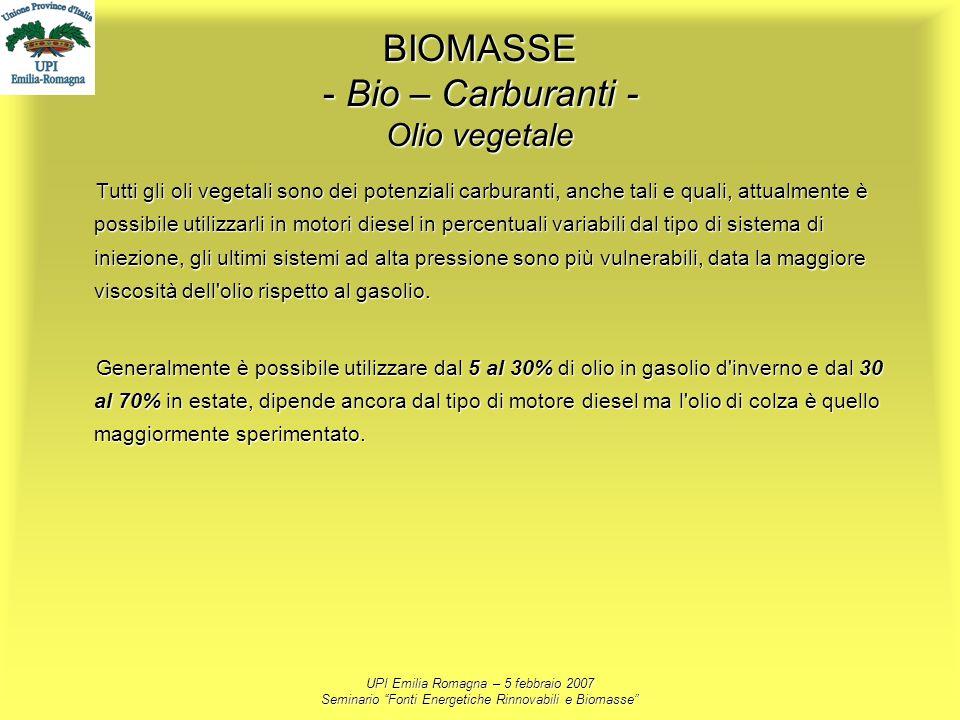 UPI Emilia Romagna – 5 febbraio 2007 Seminario Fonti Energetiche Rinnovabili e Biomasse BIOMASSE - Bio – Carburanti - Olio vegetale Tutti gli oli vege