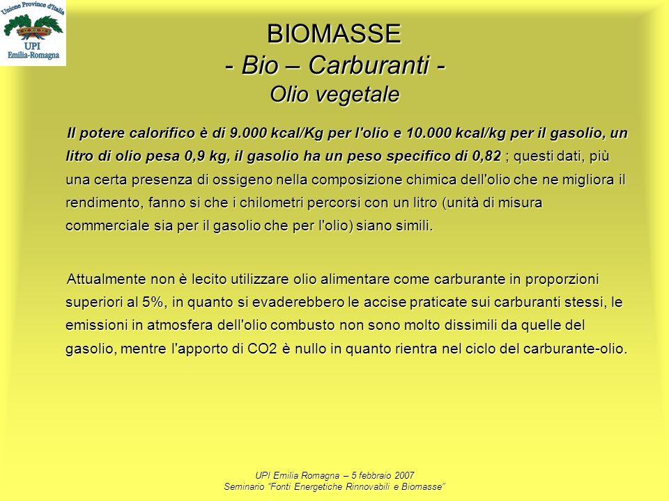 UPI Emilia Romagna – 5 febbraio 2007 Seminario Fonti Energetiche Rinnovabili e Biomasse BIOMASSE - Bio – Carburanti - Olio vegetale Il potere calorifi