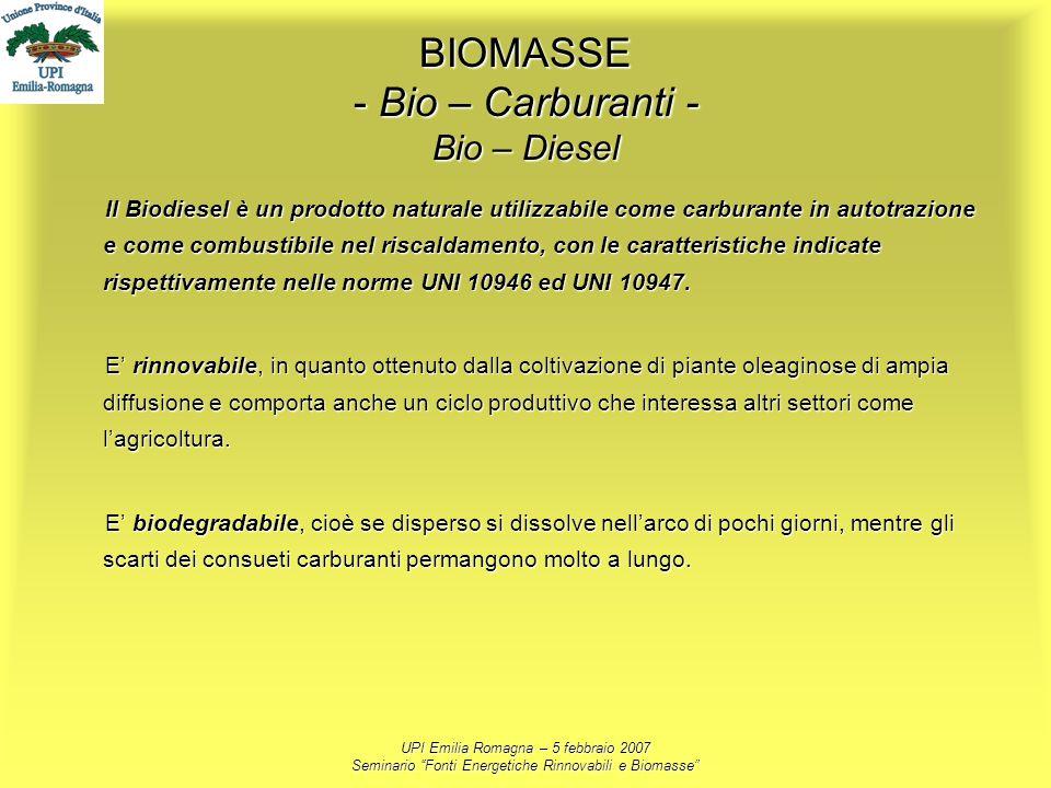 UPI Emilia Romagna – 5 febbraio 2007 Seminario Fonti Energetiche Rinnovabili e Biomasse BIOMASSE - Bio – Carburanti - Bio – Diesel Il Biodiesel è un p