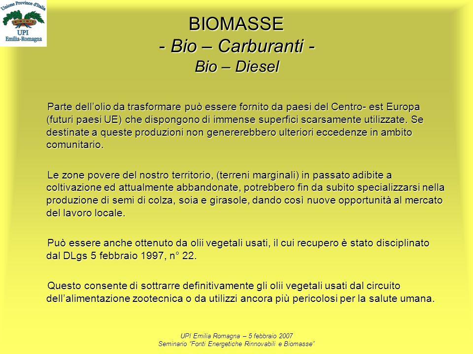 UPI Emilia Romagna – 5 febbraio 2007 Seminario Fonti Energetiche Rinnovabili e Biomasse BIOMASSE - Bio – Carburanti - Bio – Diesel Parte dellolio da t