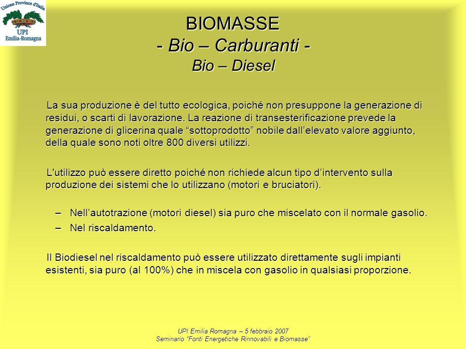 UPI Emilia Romagna – 5 febbraio 2007 Seminario Fonti Energetiche Rinnovabili e Biomasse BIOMASSE - Bio – Carburanti - Bio – Diesel La sua produzione è