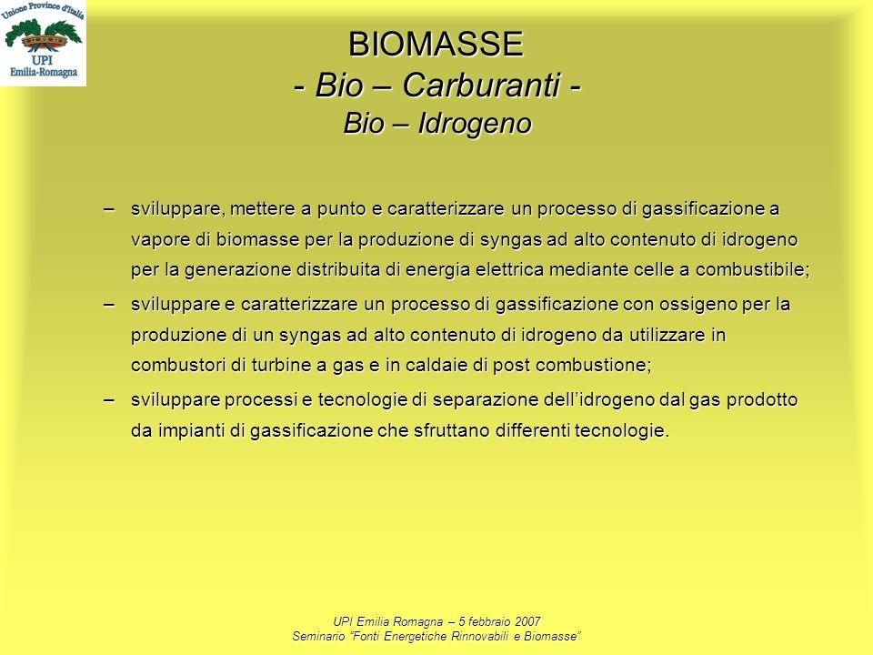 UPI Emilia Romagna – 5 febbraio 2007 Seminario Fonti Energetiche Rinnovabili e Biomasse BIOMASSE - Bio – Carburanti - Bio – Idrogeno –sviluppare, mett