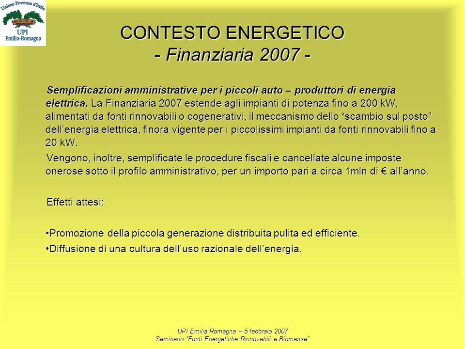 UPI Emilia Romagna – 5 febbraio 2007 Seminario Fonti Energetiche Rinnovabili e Biomasse CONTESTO ENERGETICO - Finanziaria 2007 - Semplificazioni ammin