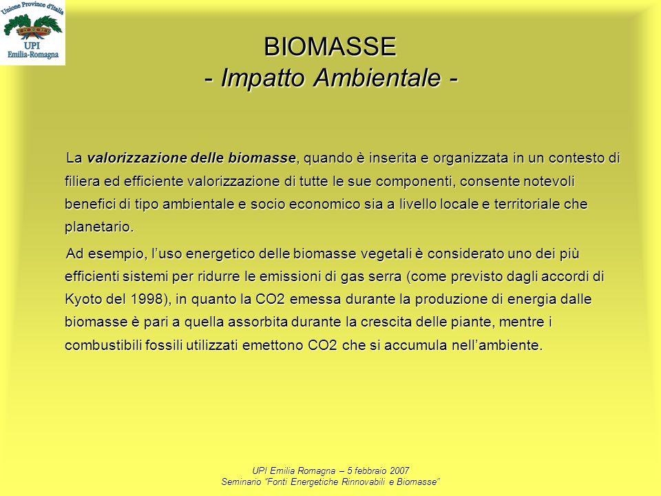 UPI Emilia Romagna – 5 febbraio 2007 Seminario Fonti Energetiche Rinnovabili e Biomasse BIOMASSE - Impatto Ambientale - La valorizzazione delle biomas