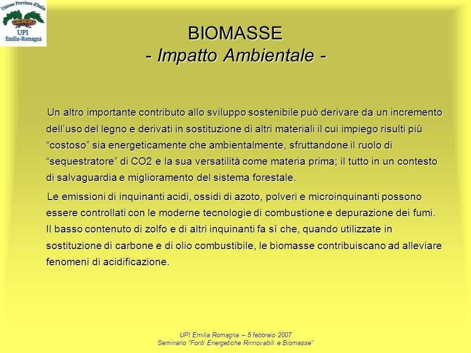 UPI Emilia Romagna – 5 febbraio 2007 Seminario Fonti Energetiche Rinnovabili e Biomasse BIOMASSE - Impatto Ambientale - Un altro importante contributo