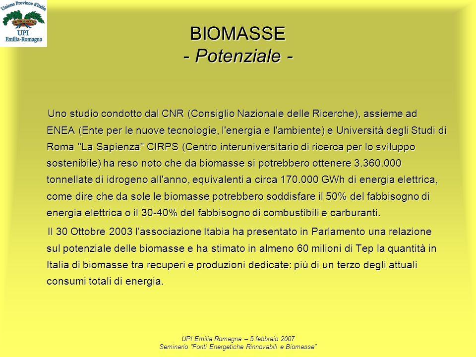 UPI Emilia Romagna – 5 febbraio 2007 Seminario Fonti Energetiche Rinnovabili e Biomasse BIOMASSE - Potenziale - Uno studio condotto dal CNR (Consiglio