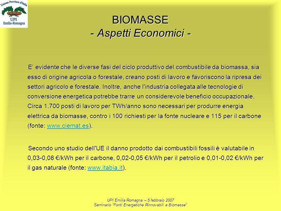 UPI Emilia Romagna – 5 febbraio 2007 Seminario Fonti Energetiche Rinnovabili e Biomasse BIOMASSE - Aspetti Economici - E evidente che le diverse fasi