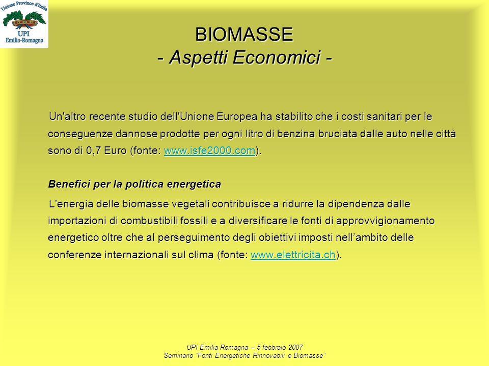 UPI Emilia Romagna – 5 febbraio 2007 Seminario Fonti Energetiche Rinnovabili e Biomasse BIOMASSE - Aspetti Economici - Un'altro recente studio dell'Un