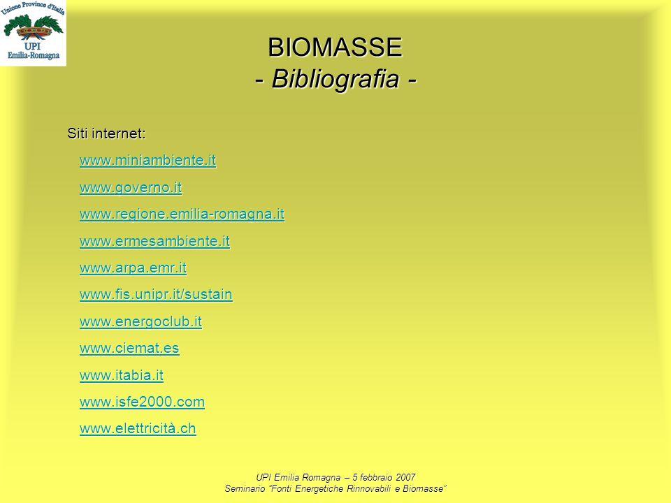 UPI Emilia Romagna – 5 febbraio 2007 Seminario Fonti Energetiche Rinnovabili e Biomasse BIOMASSE - Bibliografia - Siti internet: www.miniambiente.it w
