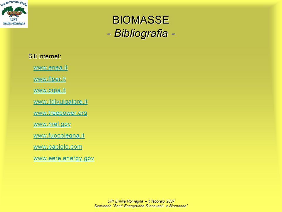 UPI Emilia Romagna – 5 febbraio 2007 Seminario Fonti Energetiche Rinnovabili e Biomasse BIOMASSE - Bibliografia - Siti internet: www.enea.it www.fiper