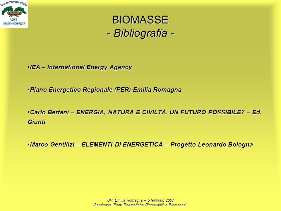 UPI Emilia Romagna – 5 febbraio 2007 Seminario Fonti Energetiche Rinnovabili e Biomasse BIOMASSE - Bibliografia - IEA – International Energy AgencyIEA