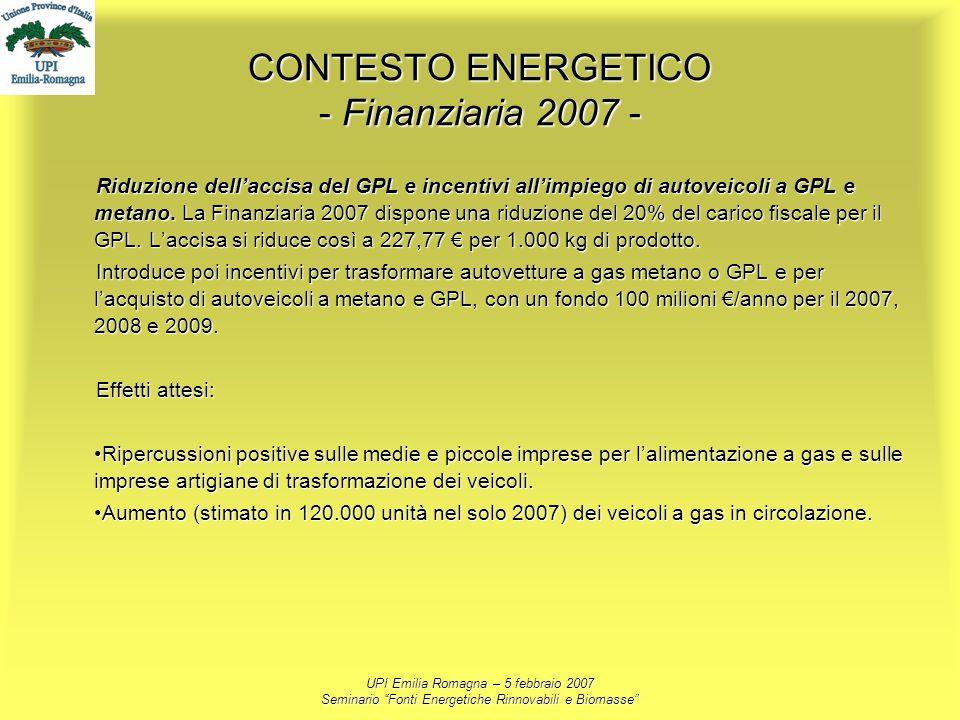 UPI Emilia Romagna – 5 febbraio 2007 Seminario Fonti Energetiche Rinnovabili e Biomasse CONTESTO ENERGETICO - Finanziaria 2007 - Riduzione dellaccisa