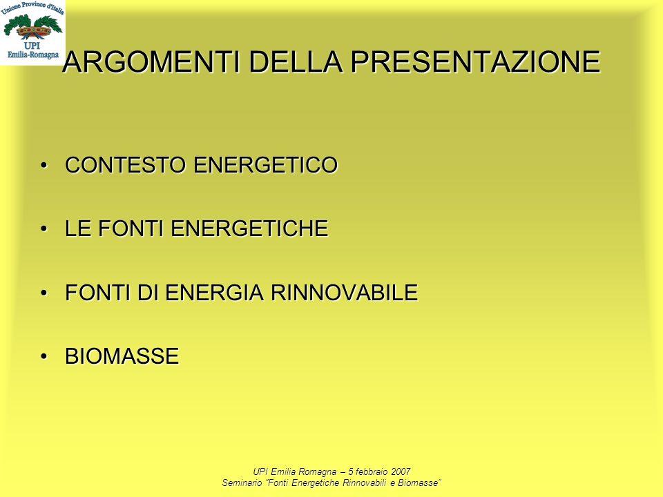 UPI Emilia Romagna – 5 febbraio 2007 Seminario Fonti Energetiche Rinnovabili e Biomasse ARGOMENTI DELLA PRESENTAZIONE CONTESTO ENERGETICOCONTESTO ENER