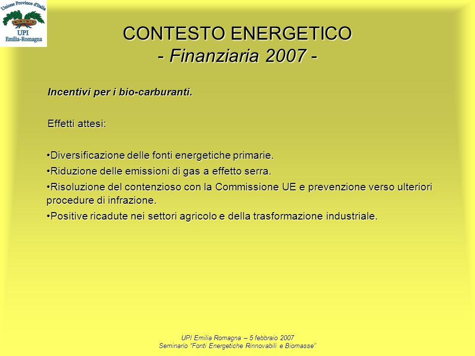 UPI Emilia Romagna – 5 febbraio 2007 Seminario Fonti Energetiche Rinnovabili e Biomasse CONTESTO ENERGETICO - Finanziaria 2007 - Incentivi per i bio-c
