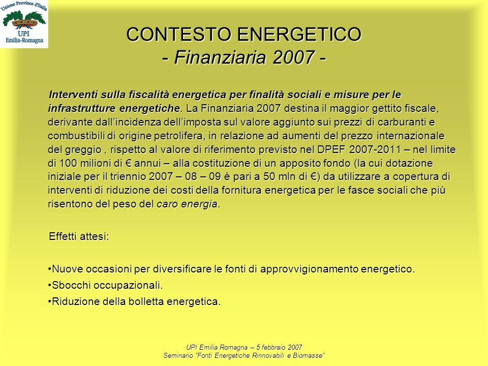 UPI Emilia Romagna – 5 febbraio 2007 Seminario Fonti Energetiche Rinnovabili e Biomasse CONTESTO ENERGETICO - Finanziaria 2007 - Interventi sulla fisc