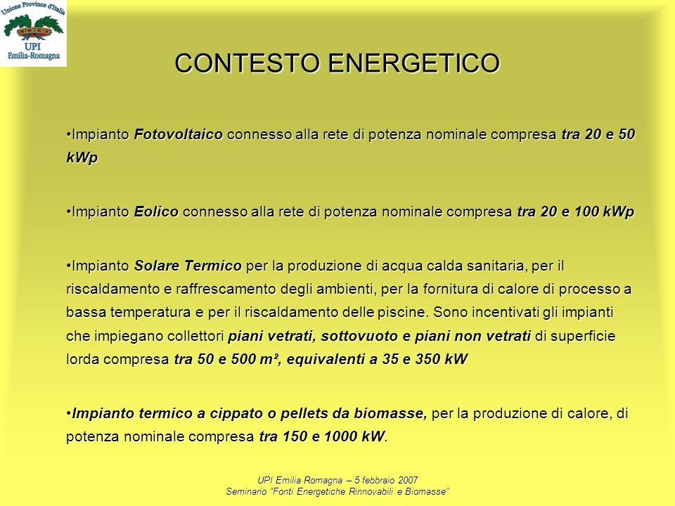 UPI Emilia Romagna – 5 febbraio 2007 Seminario Fonti Energetiche Rinnovabili e Biomasse CONTESTO ENERGETICO Impianto Fotovoltaico connesso alla rete d