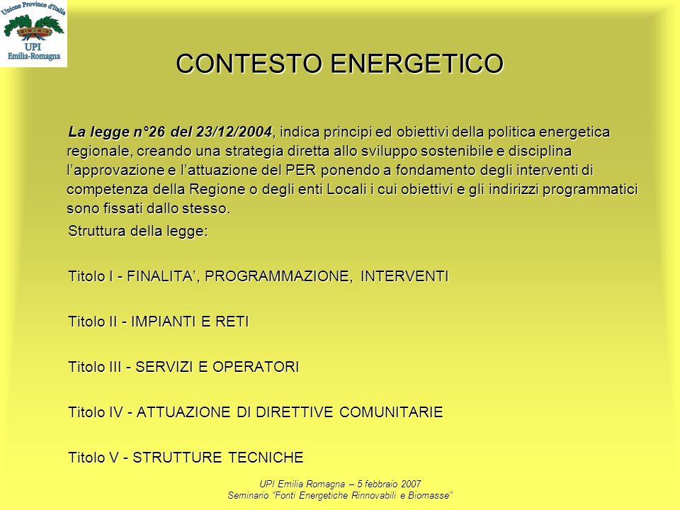UPI Emilia Romagna – 5 febbraio 2007 Seminario Fonti Energetiche Rinnovabili e Biomasse CONTESTO ENERGETICO La legge n°26 del 23/12/2004, indica princ
