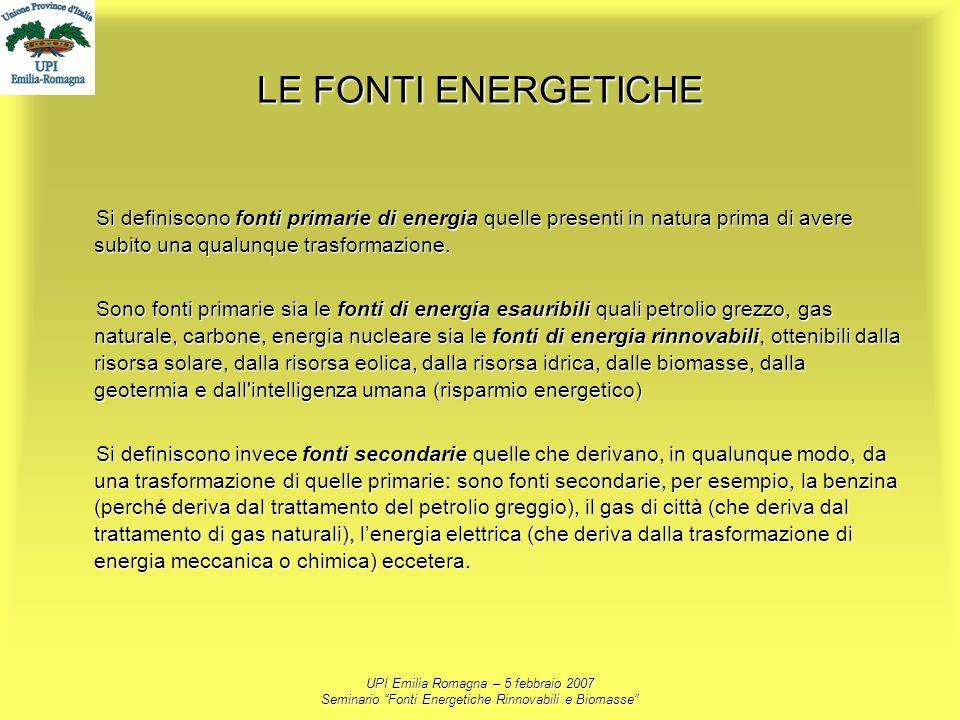 UPI Emilia Romagna – 5 febbraio 2007 Seminario Fonti Energetiche Rinnovabili e Biomasse LE FONTI ENERGETICHE Si definiscono fonti primarie di energia