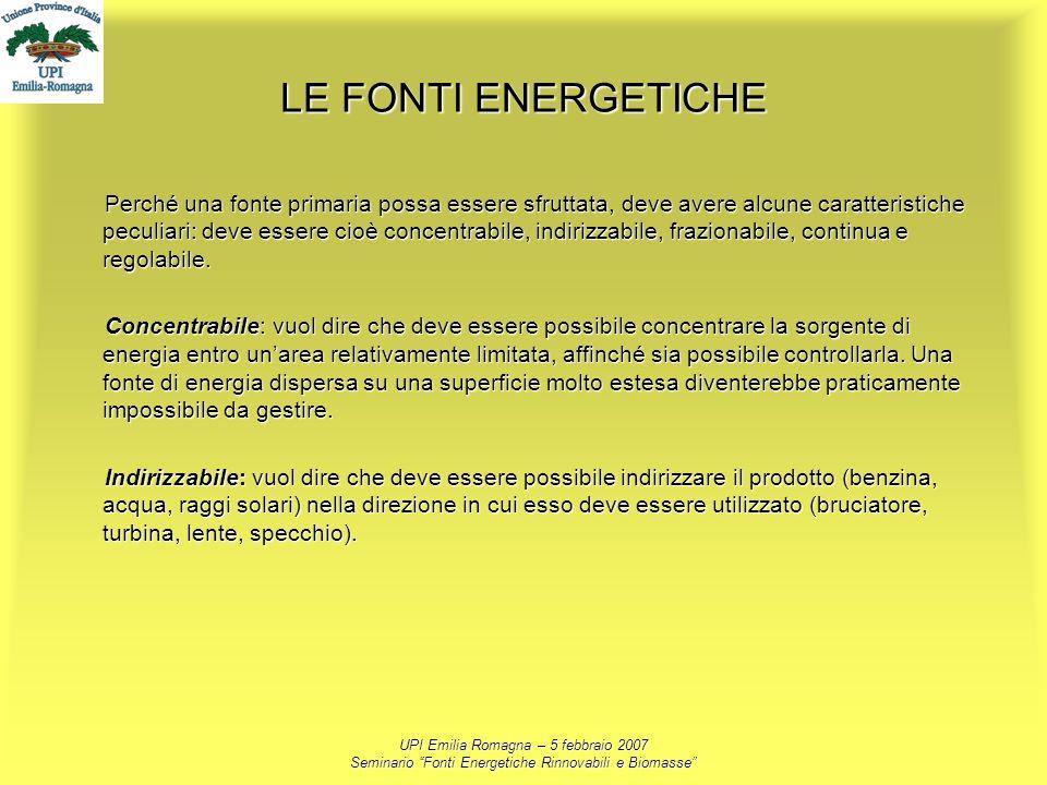 UPI Emilia Romagna – 5 febbraio 2007 Seminario Fonti Energetiche Rinnovabili e Biomasse LE FONTI ENERGETICHE Perché una fonte primaria possa essere sf