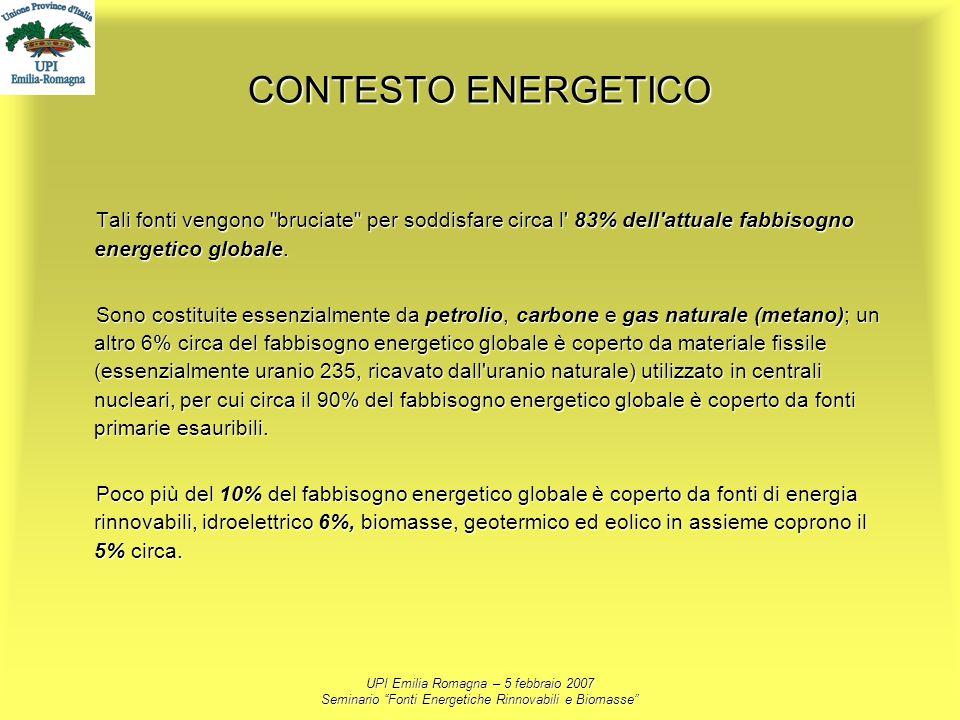 UPI Emilia Romagna – 5 febbraio 2007 Seminario Fonti Energetiche Rinnovabili e Biomasse CONTESTO ENERGETICO Tali fonti vengono