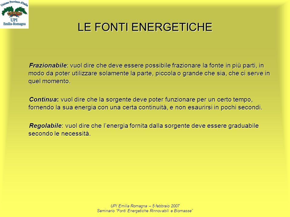 UPI Emilia Romagna – 5 febbraio 2007 Seminario Fonti Energetiche Rinnovabili e Biomasse LE FONTI ENERGETICHE Frazionabile: vuol dire che deve essere p