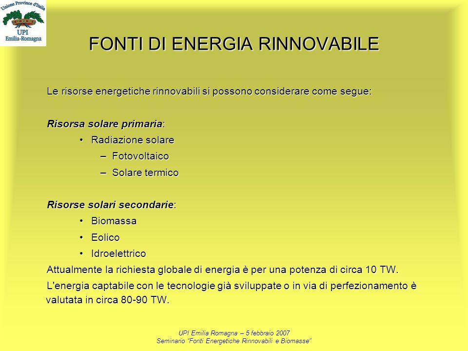 UPI Emilia Romagna – 5 febbraio 2007 Seminario Fonti Energetiche Rinnovabili e Biomasse FONTI DI ENERGIA RINNOVABILE Le risorse energetiche rinnovabil