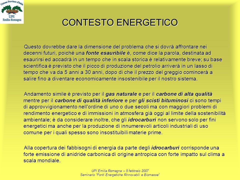 UPI Emilia Romagna – 5 febbraio 2007 Seminario Fonti Energetiche Rinnovabili e Biomasse CONTESTO ENERGETICO Questo dovrebbe dare la dimensione del pro