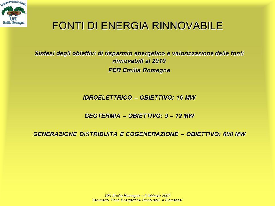UPI Emilia Romagna – 5 febbraio 2007 Seminario Fonti Energetiche Rinnovabili e Biomasse FONTI DI ENERGIA RINNOVABILE Sintesi degli obiettivi di rispar