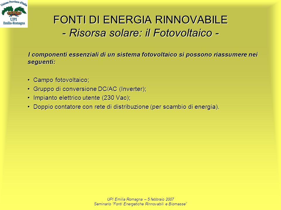 UPI Emilia Romagna – 5 febbraio 2007 Seminario Fonti Energetiche Rinnovabili e Biomasse FONTI DI ENERGIA RINNOVABILE - Risorsa solare: il Fotovoltaico