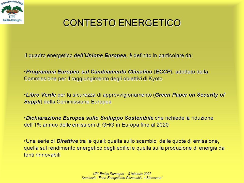 UPI Emilia Romagna – 5 febbraio 2007 Seminario Fonti Energetiche Rinnovabili e Biomasse CONTESTO ENERGETICO Il quadro energetico dellUnione Europea, è