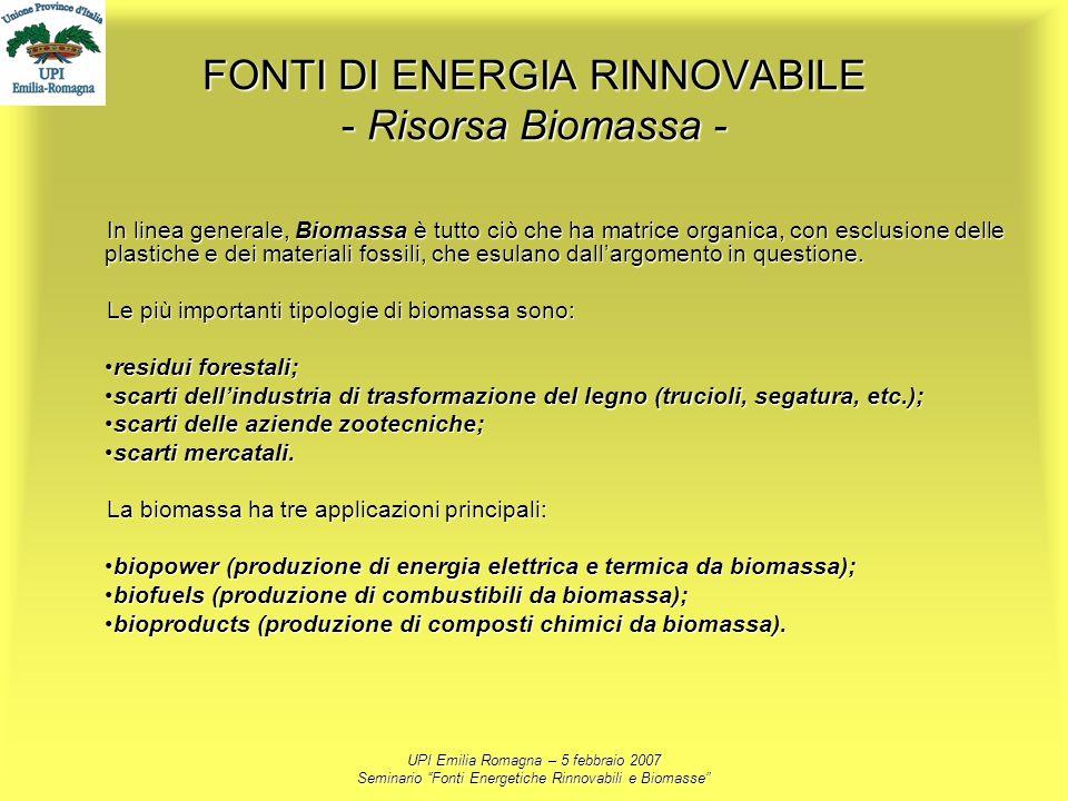 UPI Emilia Romagna – 5 febbraio 2007 Seminario Fonti Energetiche Rinnovabili e Biomasse FONTI DI ENERGIA RINNOVABILE - Risorsa Biomassa - In linea gen
