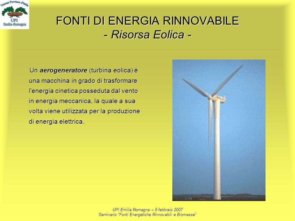 UPI Emilia Romagna – 5 febbraio 2007 Seminario Fonti Energetiche Rinnovabili e Biomasse FONTI DI ENERGIA RINNOVABILE - Risorsa Eolica - Un aerogenerat