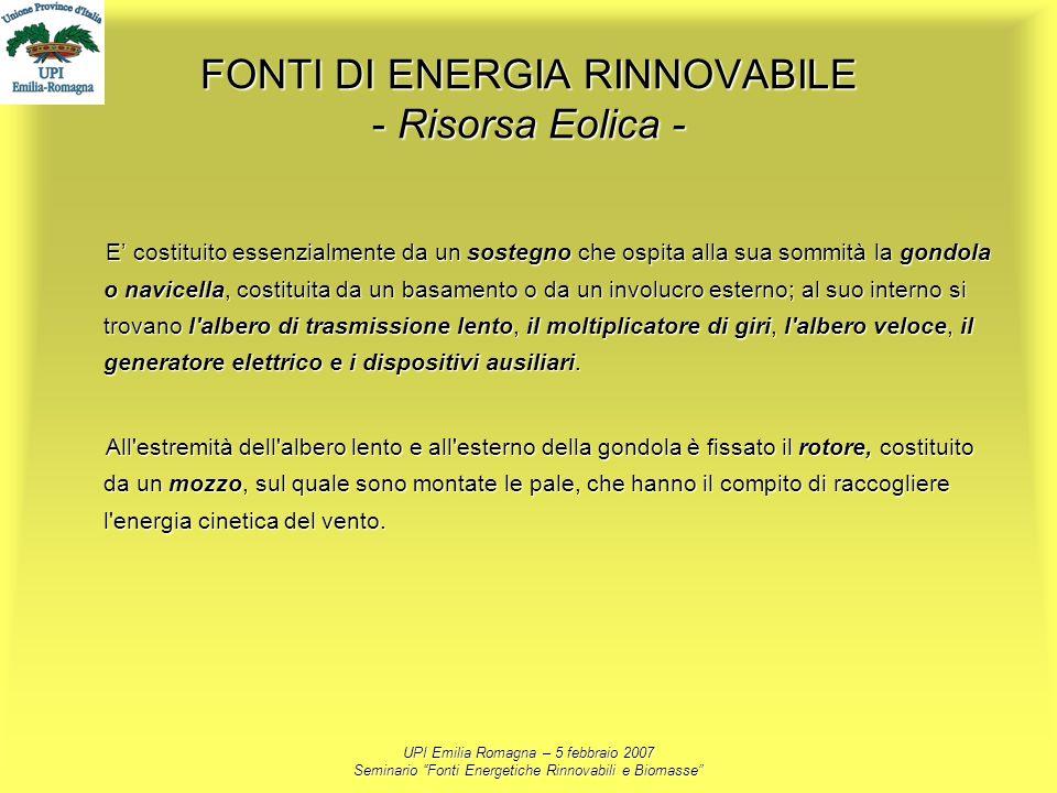 UPI Emilia Romagna – 5 febbraio 2007 Seminario Fonti Energetiche Rinnovabili e Biomasse FONTI DI ENERGIA RINNOVABILE - Risorsa Eolica - E costituito e