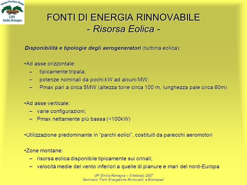 UPI Emilia Romagna – 5 febbraio 2007 Seminario Fonti Energetiche Rinnovabili e Biomasse FONTI DI ENERGIA RINNOVABILE - Risorsa Eolica - Disponibilità
