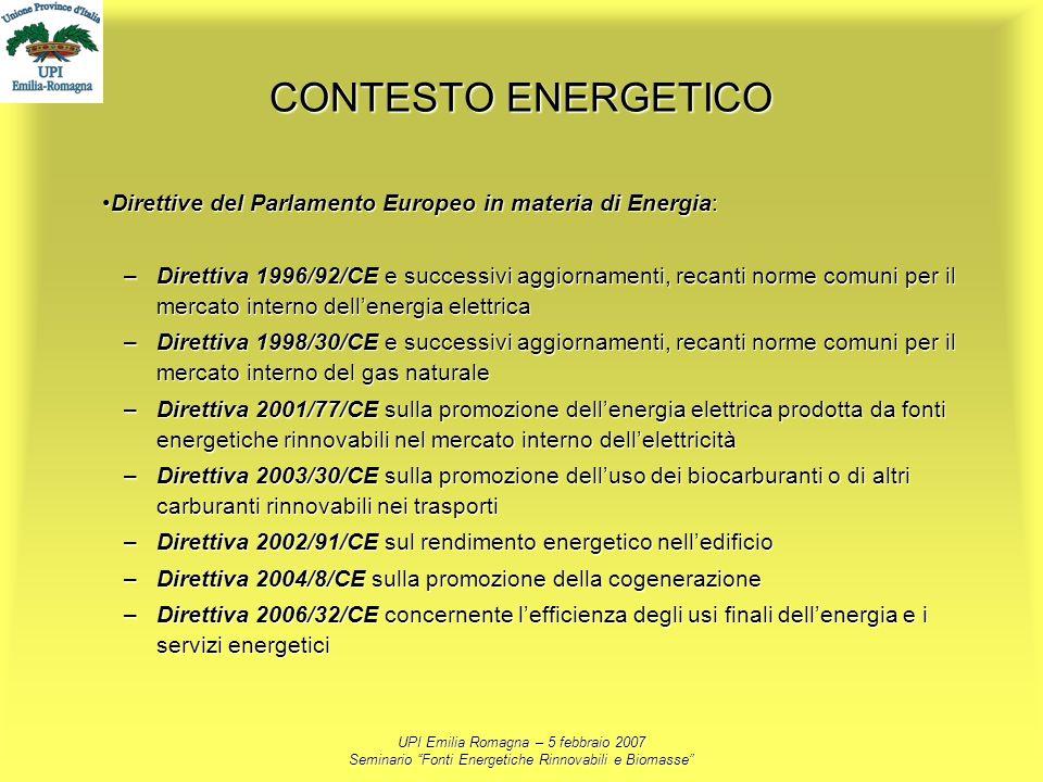 UPI Emilia Romagna – 5 febbraio 2007 Seminario Fonti Energetiche Rinnovabili e Biomasse CONTESTO ENERGETICO Direttive del Parlamento Europeo in materi
