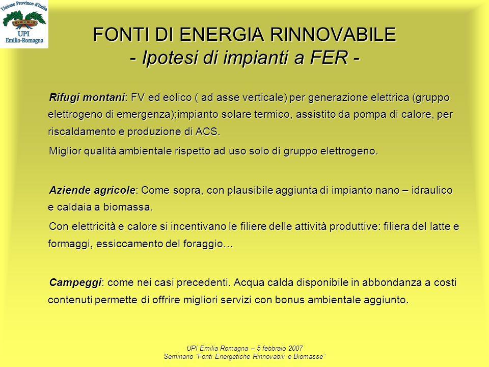 UPI Emilia Romagna – 5 febbraio 2007 Seminario Fonti Energetiche Rinnovabili e Biomasse FONTI DI ENERGIA RINNOVABILE - Ipotesi di impianti a FER - Rif