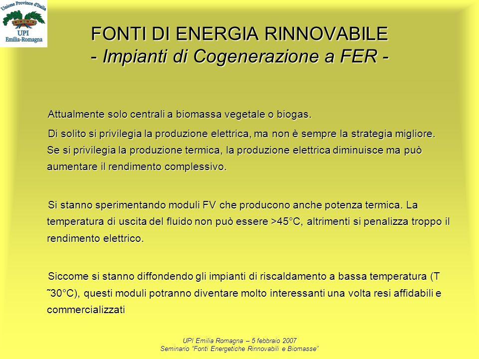 UPI Emilia Romagna – 5 febbraio 2007 Seminario Fonti Energetiche Rinnovabili e Biomasse FONTI DI ENERGIA RINNOVABILE - Impianti di Cogenerazione a FER