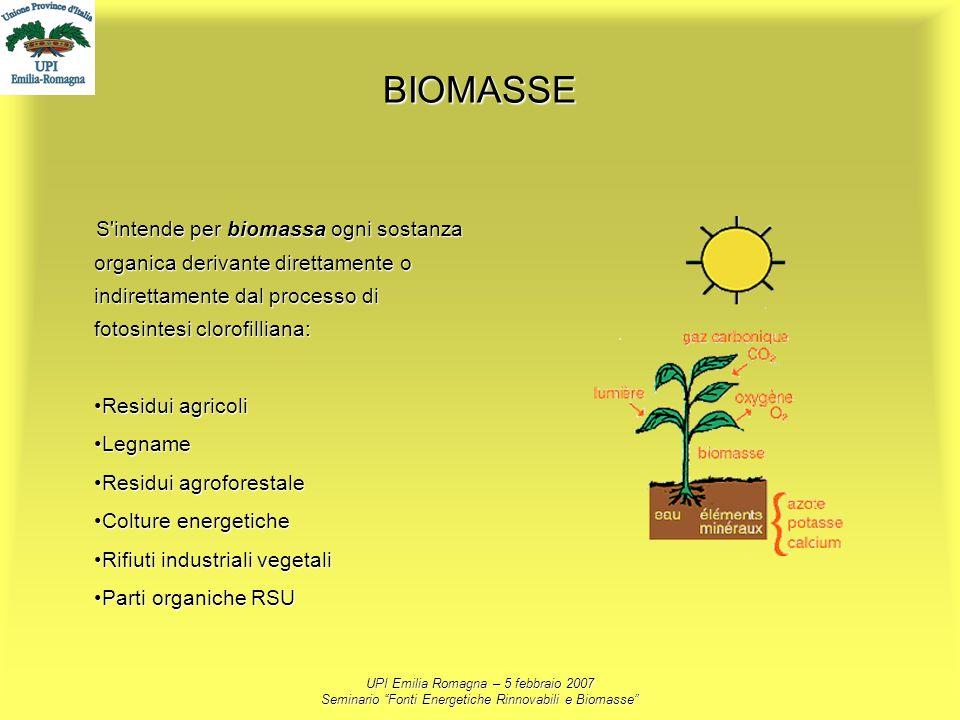 UPI Emilia Romagna – 5 febbraio 2007 Seminario Fonti Energetiche Rinnovabili e Biomasse BIOMASSE S'intende per biomassa ogni sostanza organica derivan