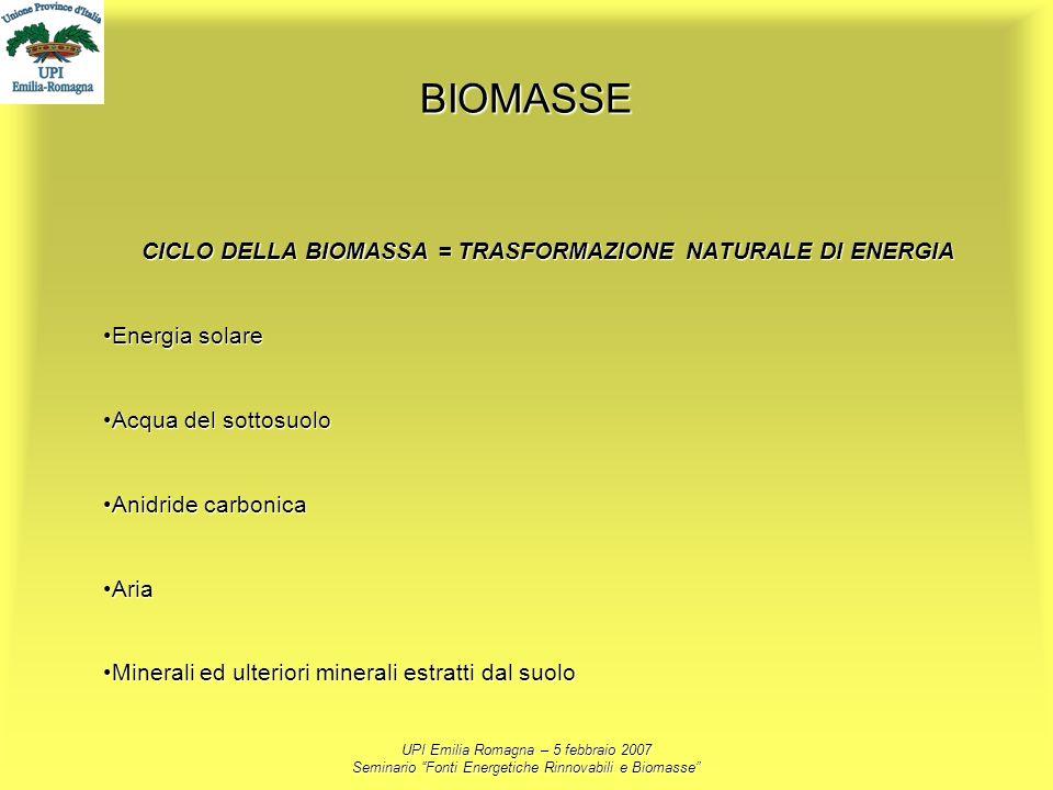 UPI Emilia Romagna – 5 febbraio 2007 Seminario Fonti Energetiche Rinnovabili e Biomasse BIOMASSE CICLO DELLA BIOMASSA = TRASFORMAZIONE NATURALE DI ENE