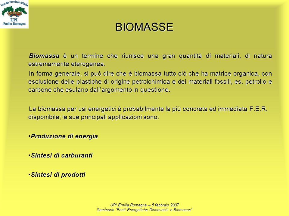 UPI Emilia Romagna – 5 febbraio 2007 Seminario Fonti Energetiche Rinnovabili e Biomasse BIOMASSE Biomassa è un termine che riunisce una gran quantità