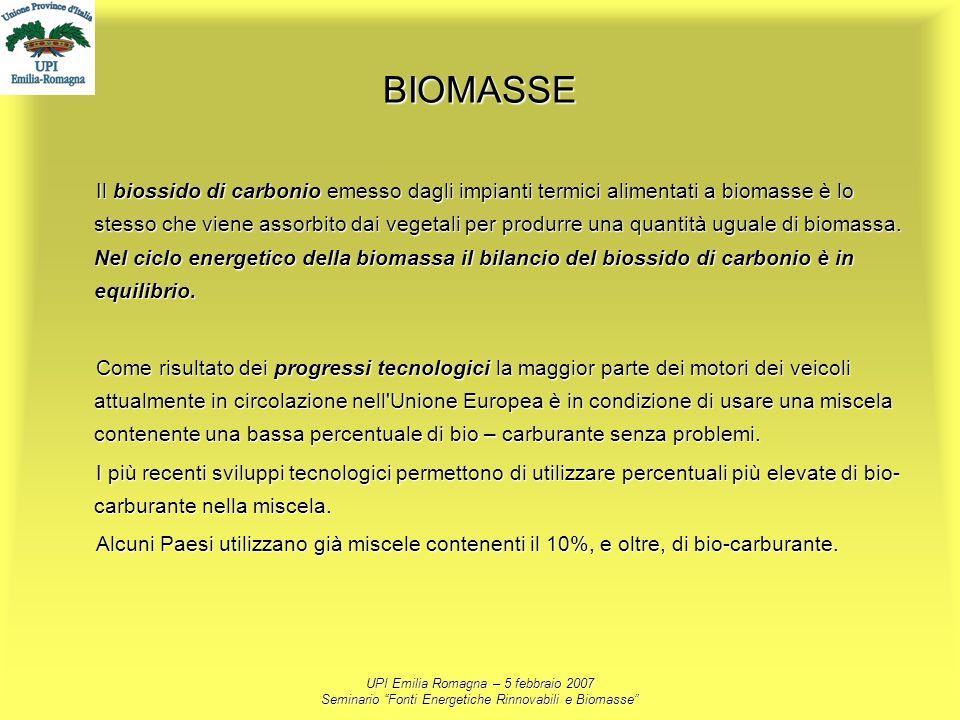 UPI Emilia Romagna – 5 febbraio 2007 Seminario Fonti Energetiche Rinnovabili e Biomasse BIOMASSE Il biossido di carbonio emesso dagli impianti termici