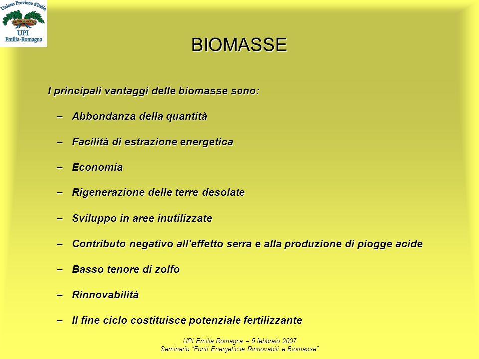 UPI Emilia Romagna – 5 febbraio 2007 Seminario Fonti Energetiche Rinnovabili e Biomasse BIOMASSE I principali vantaggi delle biomasse sono: –Abbondanz