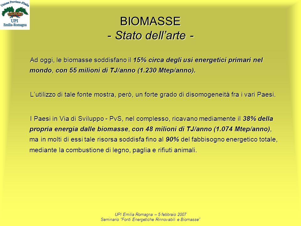 UPI Emilia Romagna – 5 febbraio 2007 Seminario Fonti Energetiche Rinnovabili e Biomasse BIOMASSE - Stato dellarte - Ad oggi, le biomasse soddisfano il