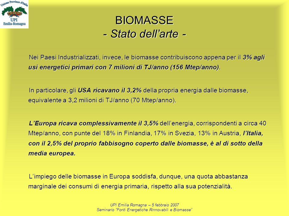 UPI Emilia Romagna – 5 febbraio 2007 Seminario Fonti Energetiche Rinnovabili e Biomasse BIOMASSE - Stato dellarte - Nei Paesi Industrializzati, invece