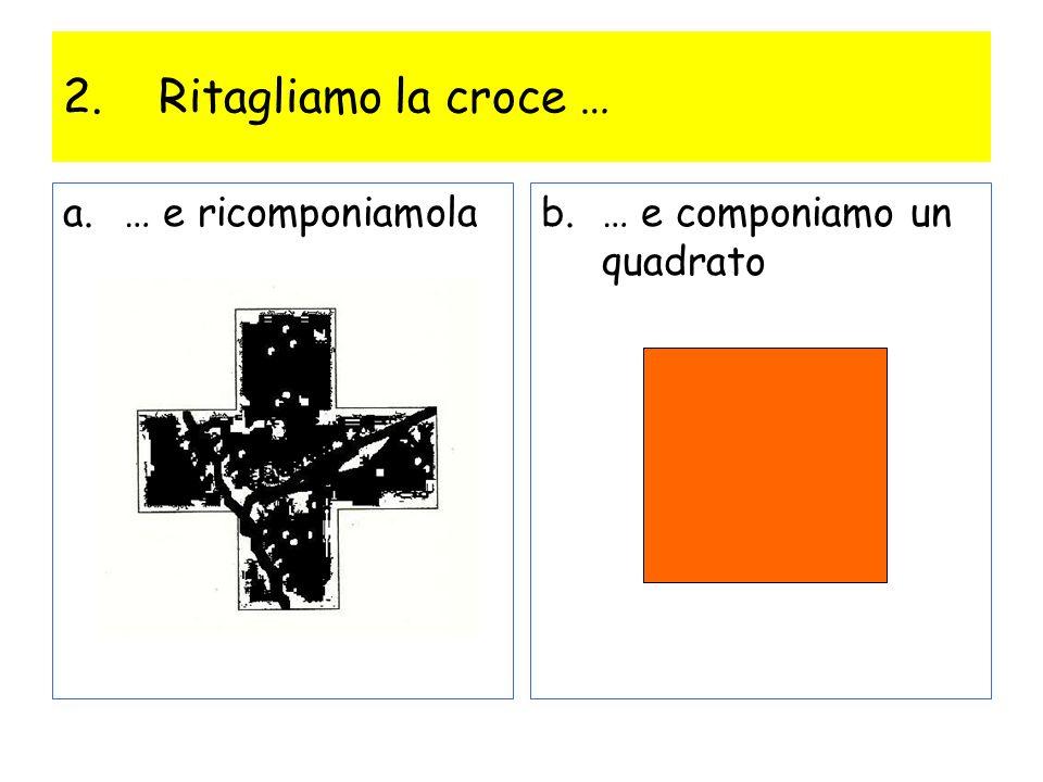 2.Ritagliamo la croce … a.… e ricomponiamolab.… e componiamo un quadrato