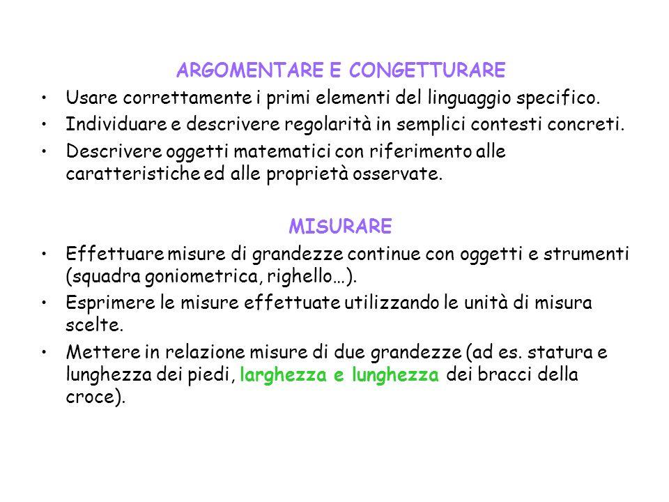 ARGOMENTARE E CONGETTURARE Usare correttamente i primi elementi del linguaggio specifico.